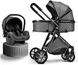 JUNC Baby Strollers 3 in 1 Lightweight Baby Trolley Car Seat Stroller, Foldable Stroller Carriage Luxury Baby Stroller Pram Newborn Stroller with Cooling Pad Rain Cover Footmuff Mosquito Net