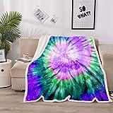 A Nice Night Tie Dye Galaxy Print, Sherpa Fleece Blanket Twin Size Plush Throw Blanket Fuzzy Soft Blanket Microfiber (Purple)