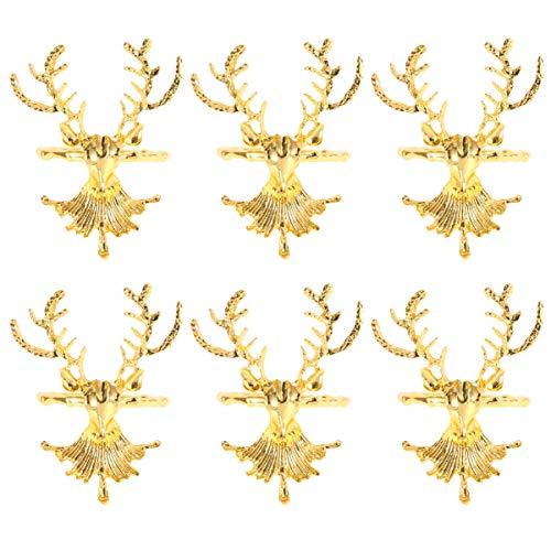 NUOBESTY portatovaglioli 6 Pezzi Porta Anelli di tovagliolo di Cervo per Natale Vacanze ricevimenti di Nozze Decorazioni per la tavola (Oro)