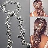 Simsly FS-144 - Cerchietto lungo per capelli da sposa, con fiore di cristallo, per spose e damigelle d'onore (argento) da 90,4 cm