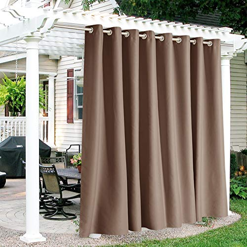 RYB HOME Outdoor Curtains Waterproof - Sun Blocking Curtains Heavy Duty Grommet Shades for Garage Patio Door Window Porch Pergola Outdoor Shower, 100 inches x 95 inches, 1 Panel, Mocha