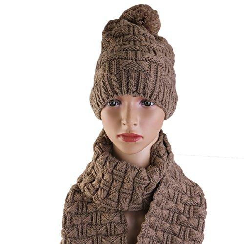 Pixnor Winter Schal und Mütze Set verdicken Kippa für Frauen Mädchen Kaffee