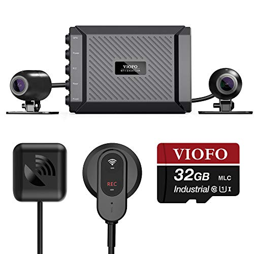 VIOFO MT1 Motorcycle Dash Cam Front and Rear 1080P Dual Channel Waterproof Motorbike Camera 170 Degree Angle, Built-in WiFi, GPS, G-Sensor, Waterproof, Auto On/Off, 32GB SD Card Included
