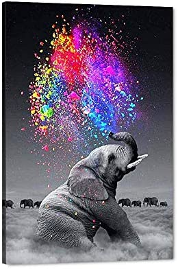 Cute Animals Artwork Abstract Colourful Elephant Painting Large Contemporary Home Decor on Canvas product image