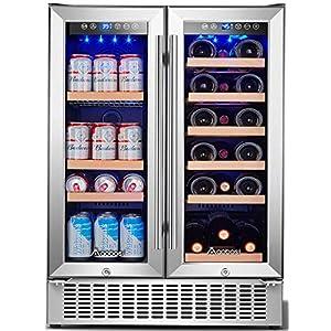 Aaobosi 24 Inch Beverage and Wine Cooler Dual Zone, 2-IN-1 Wine...
