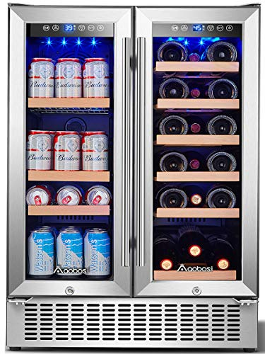 Aobosi 24 Inch Beverage and Wine Cooler Dual Zone, 2-IN-1 Wine Beverage Refrigerator with Independent Temperature Control, Blue LED Light, Quiet Operation, Energy Saving, Hold 18 Bottles and 57 Cans…