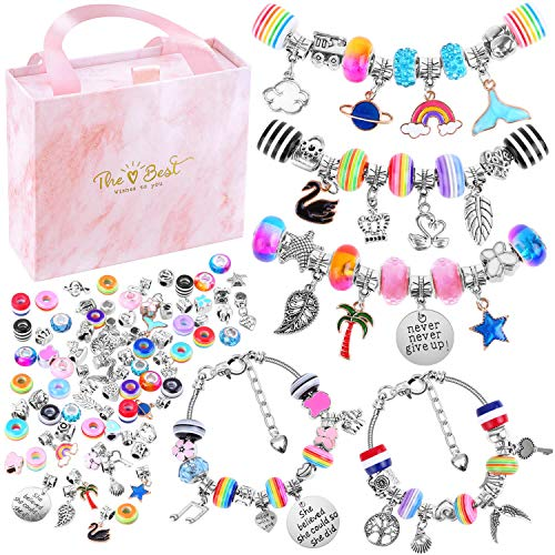 Bracelet Making Kit for Girls, Flasoo 85PCs Charm Bracelets Kit with Beads, Jewelry Charms, Bracelets for DIY Craft, Jewelry Gift for Adults and Teens on Valentine