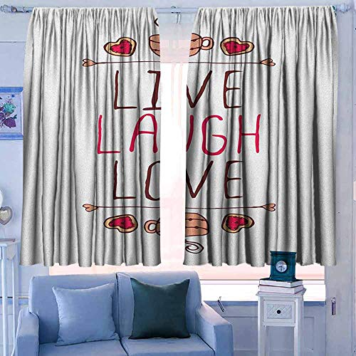 Isolerende verduisteringsgordijnen gordijnen Thermische geïsoleerde panelen home decor Live Laugh Love Romantische Ornate Poster Ontwerp met een Inspirationele Zeggen Violet Blauw Wit Geel