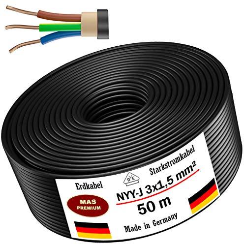 Erdkabel Stromkabel 20m, 25m oder 50m NYY-J 3x1,5 mm² Elektrokabel Ring zur Verlegung im Freien, Erdreich (50m)