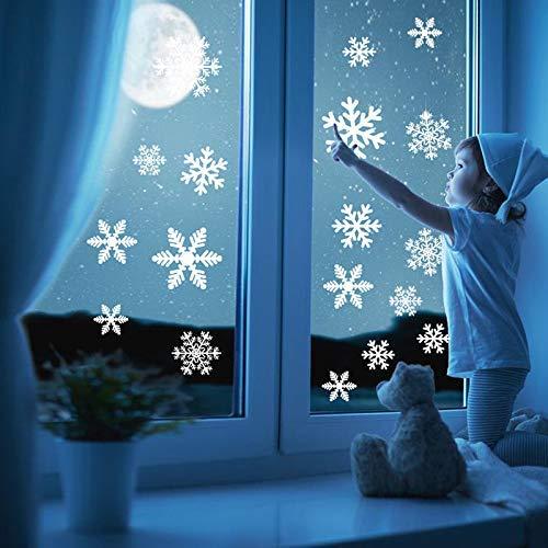 KARAA 54 Schneeflocken Aufkleber Fensterbilder klebend Weihnachtsdeko Selbstklebend Wiederverwendbar Abnehmbar für Weihnachten Wetterfest Fenster Schaufenster Tür Party Deko Winter Dekoration(2 Blatt)