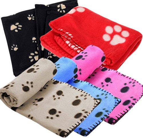 Ama-ZODE - Manta de invierno para mascotas, diseño con huellas (varios tamaños disponibles)
