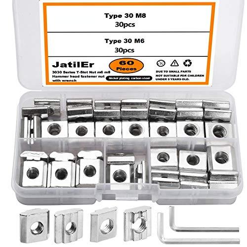 60 Stück Nutenstein Nut8 Nut 6-Typ B, JatilEr Nutensteine M6 M8 Gleitmuttern Hammermutter T Nutmuttern Sortiment Kit mit 3 Schraubenschlüssel für Aluminiumprofil-Extrusionsschlitz Standard-30-Serie