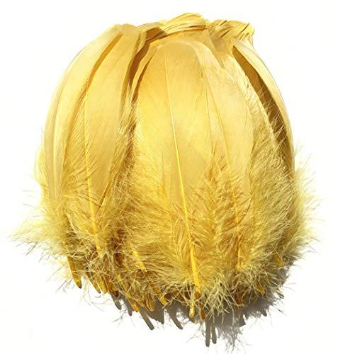 100 plumas de ganso SunEast, para bricolaje, atrapasueños, manualidades, bodas, fiestas, decoración del hogar, festivales, decoración para baby shower, 5 – 8 cm, color negro, dorado, 12-18cm