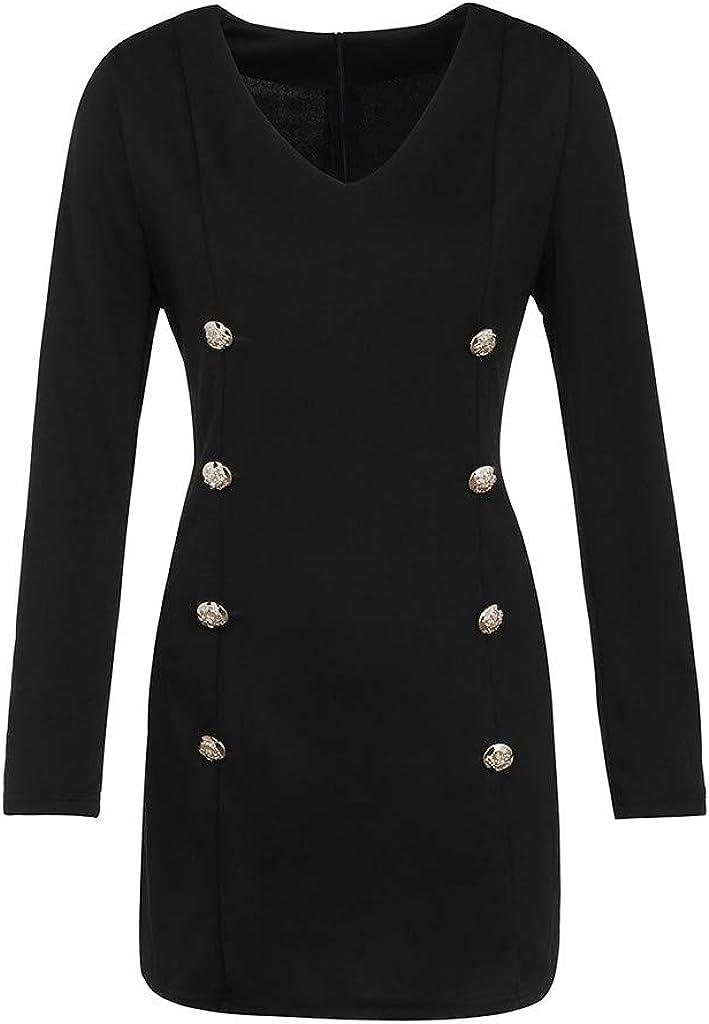 LISTHA Button Front Dresses for Women Slim Long Sleeve Bodycon Mini Dress Cocktail