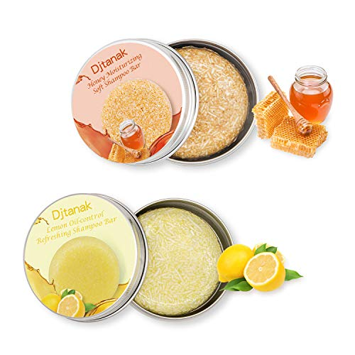 Djtanak Haar Shampoo Bar 2 Packungen, Zitrone und Honig Shampoo, feuchtigkeitsspendend, erfrischend und ölregulierend, natürliche organische Kräuterseife, Reise- und Familienhaarpflege