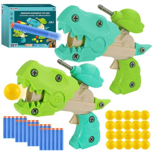 BeiyoQSZ Dinosaur Toy Guns with Bullets for Kids Ages 3 4 5 6 7 8 Year Old,2 Pack Shooting Gun...