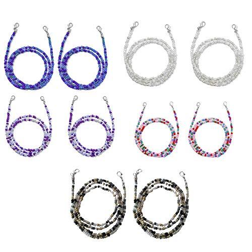 GROOMY Winddichte Kette, 10St. Gesichtsmaskenhalter Lanyard Bunte Perlenkette Brille Anti-Lost Chain-A