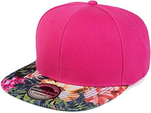 styleBREAKER Snapback Cap mit Blumen Print am Schild, Baseball Cap, verstellbar, Unisex 04023044, Farbe:Pink/Magenta
