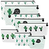 Selizo 8 Packs Pencil Case Canvas Cactus Pencil Pen Pouch Cosmetic Makeup Bag Small Coin Purse