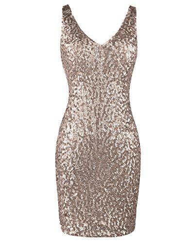 PrettyGuide Women Sexy Deep V Neck Sequin Glitter Bodycon Stretchy Mini Party Dress S Champange Champagne