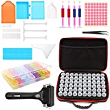 LAMPTOP Boîte de 60 outils de broderie diamant 5D avec 60 bouteilles, 28 grilles colorées pour broderie diamant, etc.