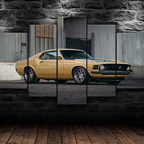 AWER 5 Piezas Lienzos Cuadros Pinturas Mustang Boss Muscle Car Impresiones En Lienzo Decoración para El Arte De La Pared del Hogar, Salón Oficina Mordern Decoración Artística