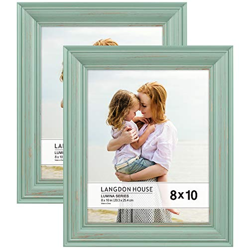 Langdon House 8x10 Real Wood Picture Frames (2 Pack, Eggshell Blue - Gold Accents), Wooden Photo Frame 8 x 10, Wall Mount or Table Top, Lumina Collection