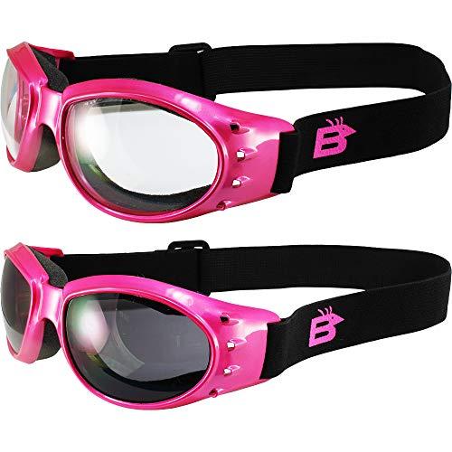 Birdz Eyewear Eagle - 2 paia di occhiali da motociclista da donna, con montatura rosa trasparente + lenti fumo