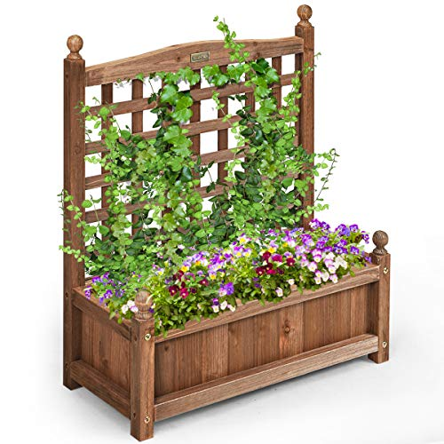 COSTWAY Wood Flower Plant Stand with Trellis, Solid Garden Trough Planter, Outdoor Garden Weather-Resistant Plant Rack for Vines, Climbing Flower, Plant Pot Boxvatory (64 x 28 x 75cm, Brown)