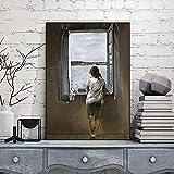 Moderno lienzo Pintura Figura en una ventana Salvador Dali lienzo impresión de arte pintura carteles...