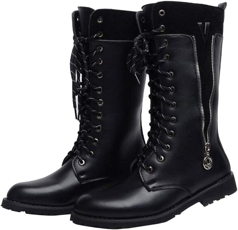 QIKAI Military Boots for Men Winter Men's Plush Boots Martin Boots Warm Men's Boots High Boots Pointed Boots