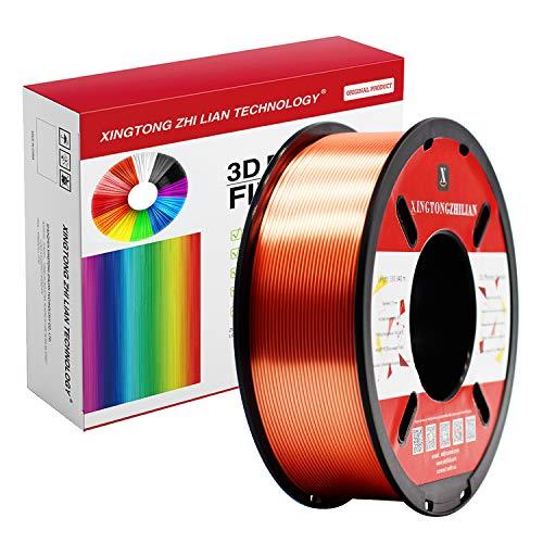 Filamento PLA 1,75 mm, filamento di stampa 3D, PLA per stampante 3D e penna 3D, filamento PLA blu, precisione +/-0,02 mm, 750 g, 1 bobina (metallo rosso ramato, 750 g seta PLA)
