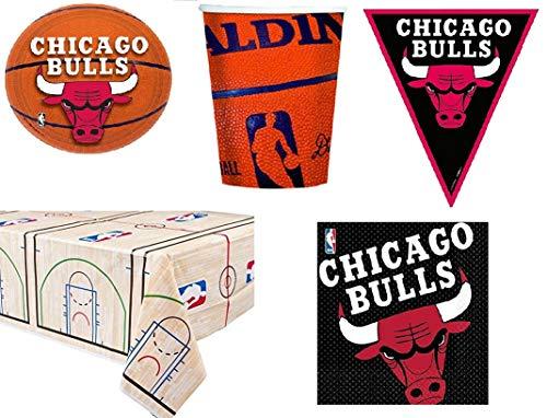 BIGIEMME S.R.L. Set Kit NBA Chicago Bulls Coordinato per Feste e Compleanni 16 Persone ( 16 piatti-18 bicchieri-16 tovaglioli-1 tovaglia-bandierini 3,65 mt)