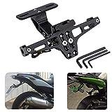 バイク用 フェンダーレス kemimoto ナンバープレート フェンダーレス ホルダー 角度調整 LEDライト付き 汎用 ブラック