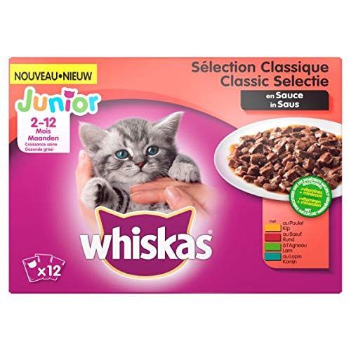 Whiskas multipack pouch junior classic selectie vlees in saus kattenvoer 12X100 GR