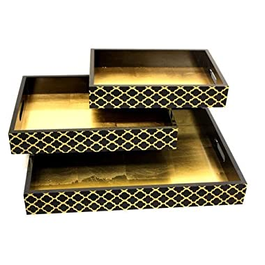 Mountain Woods 3 Set Victorian Style Wooden Serving Trays