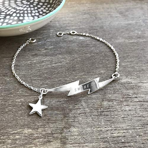 Personalisierte Sterling Silber Blitz Armband mit Stern, Blitz Armband, himmlischer Schmuck, Geburtstag Geschenk, Hochzeitstaggeschenk