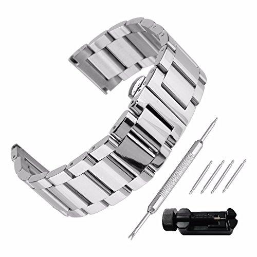 Echthaarverlängerung Armband zeigt 22mm Stahl 304Ersatz mit Armband Link Pin Remover Set Reparatur Werkzeugset Armband hat Schnalle, Band Handgelenk-Wasserdicht Watch Band Set # 24