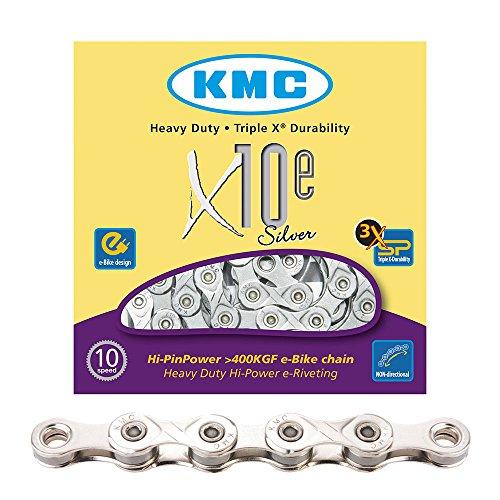 KMC e10 Fahrradkette 10-Fach, Silber, 122 Glieder für E-Bike geeignet