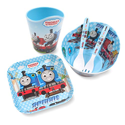 Finex Thomas the Train 5 Pcs Set Children Cartoon Durable Tableware Meal Dishes Mealtime Food Feeding Eating Set includes Dinner Serving Bowl Plate Cup with a Matching Spoon and Fork for Kids