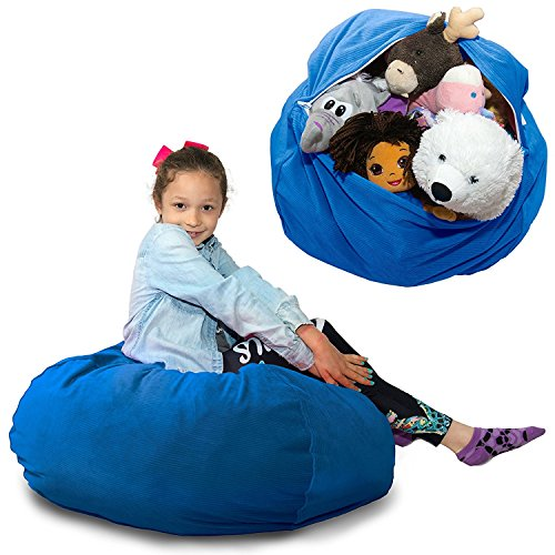 Large Stuffed Animal Storage Bean Bag  \'Soft 'n Snuggly\' Corduroy Fabric Kids Prefer Over Canvas - Replace Mesh Toy Hammock or Net - Store Blankets/Pillows Too - 4 Colors