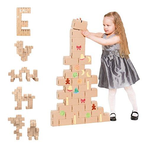 Gigi Bloks Bloques de Construcción Gigantes de Cartón | Set de Regalo Puzzle de Árbol de Navidad y Reno con 30 Ladrillos Apilables XL, Plantillas, Pinturas y Pegatinas | Juego de Habilidad par