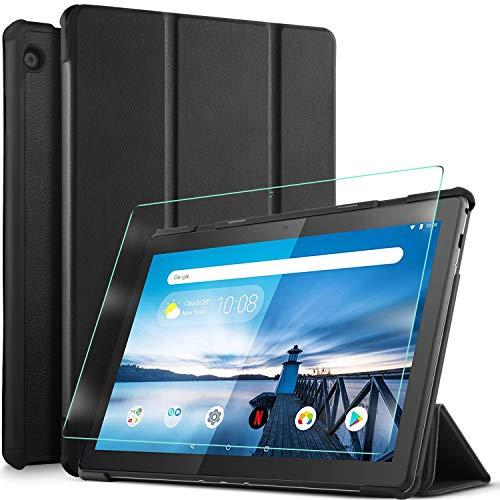 IVSO Custodia Cover per Lenovo Tab M10 HD(TB-X505L,TB-X505F)/M10 (TB-X605L,TB-X605F), Slim Smart Protettiva Custodia Cover in Pelle PU con 2.5D, 9H Vetro Temperato, Nero + 1 Pack