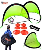 Trailblaze Pop Up Soccer Goals Set - 2 Portable Foldable Kids Soccer Nets w/ 8...