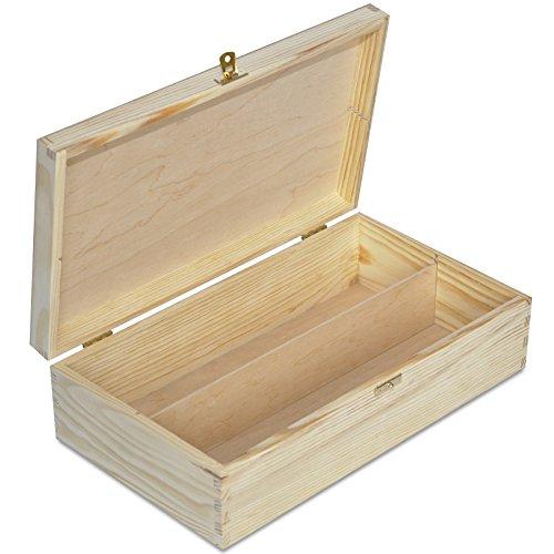 Creative Deco Wein-Kiste aus Natürliches Kiefern-Holz | Wein-Box für 2 Flaschen mit Deckel und Verschluss | 35 x 20 x 9,5 cm | Perfekt für Decoupage, Lagerung, Dekoration oder als Geschenk-Holzkiste