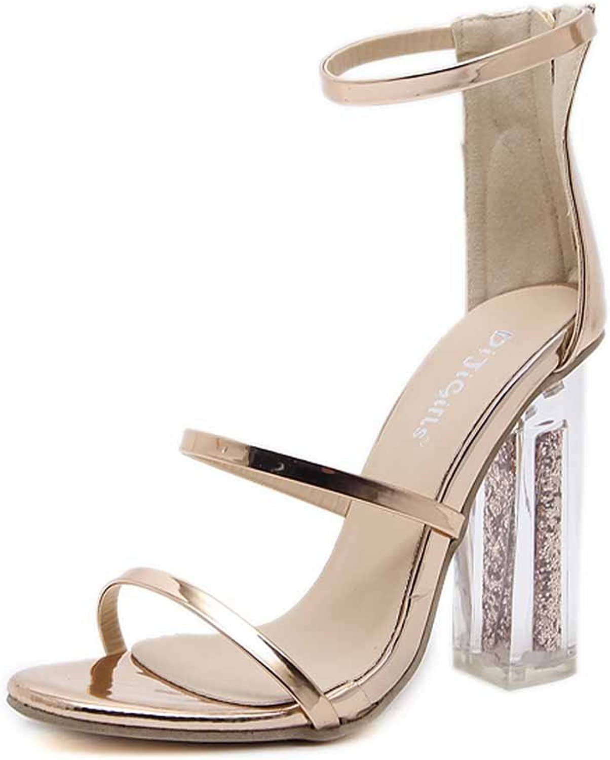 Women Ankle Strap Pumps Open-toe Transparent 12 CM High-heel Hollow Sequins Female Sandals