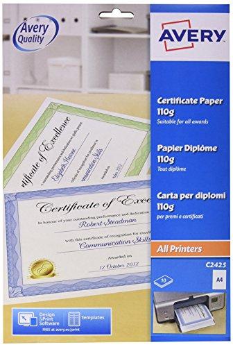 Avery Dennison - Papel para diplomas y certificados (A4, algodón, 10 unidades), color azul