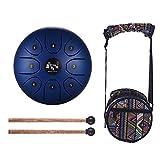 Muslady - Tambor de acero para lengua, 5,5 pulgadas, mini 8 tonos C, instrumento de percusión, tambor de mano con maletas de tambor y bolsa de transporte, azul