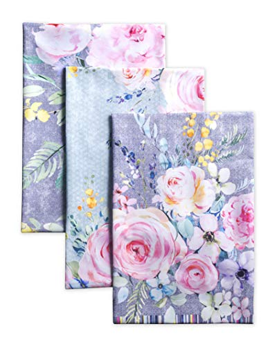 Maison d' Hermine Sweet Rose Lavender 100% Cotton Set of 3 Multi-Purpose Kitchen Towel Soft Absorbent Dish Towels | Tea Towels | Bar Towels (20 Inch by 27.50 Inch)