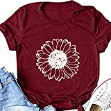 AODONG t Shirts for Women Graphic Vintage Short Sleeve Tunics for Women, Womens Blouse Short T Shirt Sleeve Be Kind Letter Printed Tops Beach Casual Loose Top Wine Red